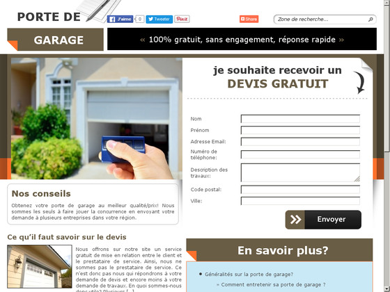 Devis pour installation de porte de garage for Installation porte de garage nice