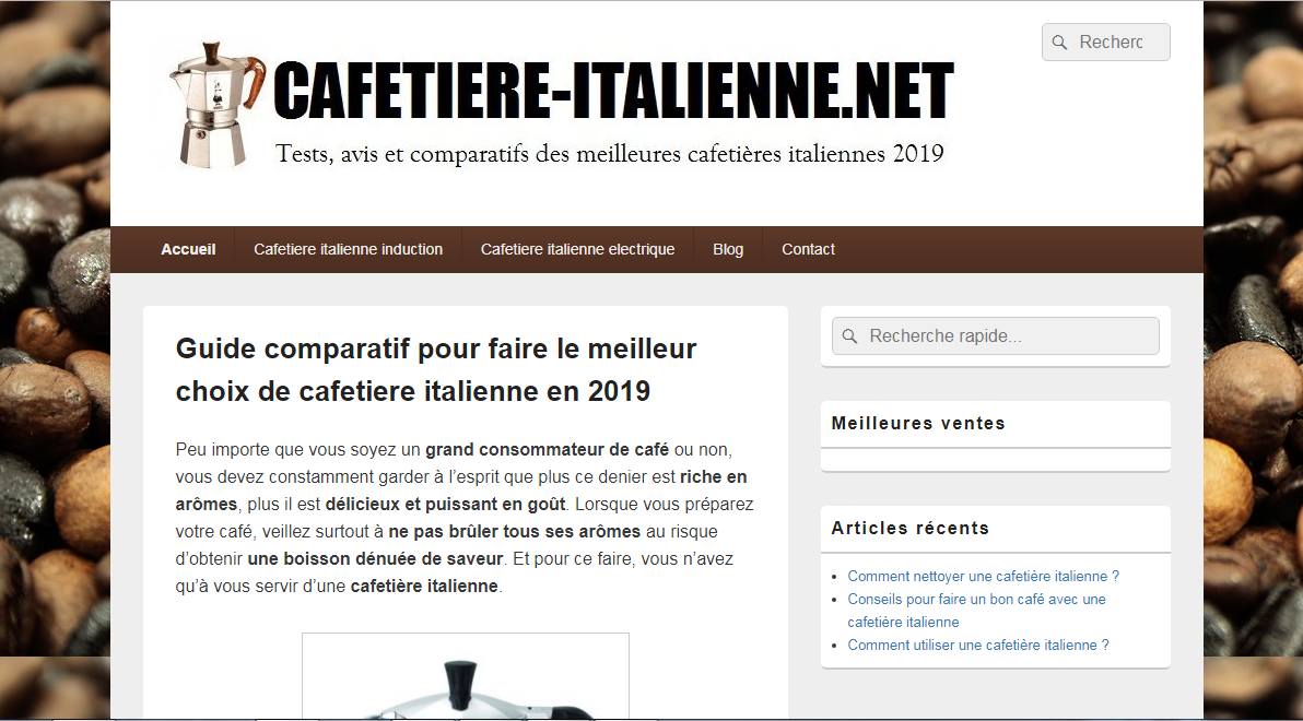 Guide cafetière italienne